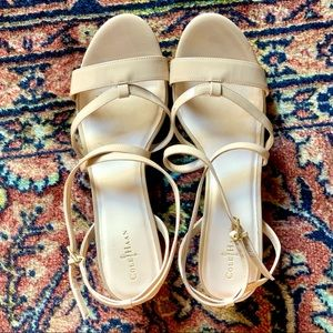 9 Cole Haan nude strappy open-toed wedge sandals